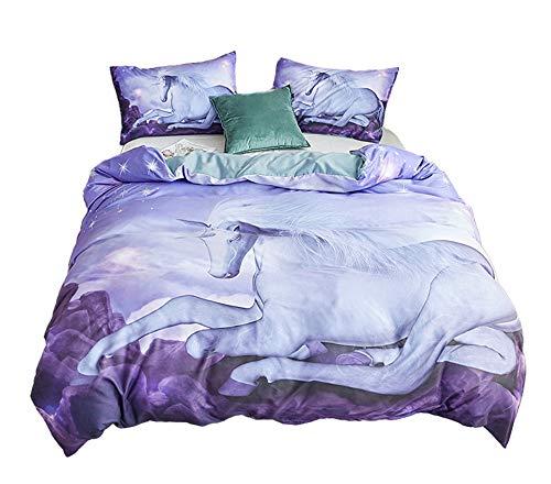 94c5822275c30 ADASMILE A   S Unicorn Bedding Twin for Girls Cartoon White Unicorn Duvet  Cover and Pillowcase