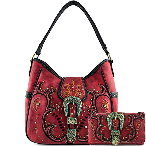 Justin West Patina Girl Western Bronze Floral Buckle Handbag Purse Tote and Strap Wallet (Red Tote and Wallet)
