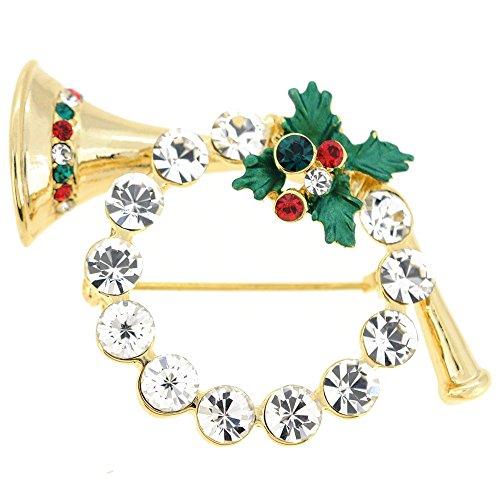 - Chrome Christmas Horn Wreath Crystal Pin Brooch