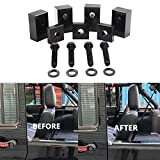 2007-2018 Jeep Wrangler JK JL Unlimited (4 Door) Aluminum Rear Seat Recline Kit with Bolts and Washers-Black