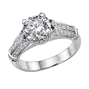 GIA Certified 14k white-gold Round Cut Diamond Engagement Ring (1.62 cttw, E Color, VS2 Clarity)