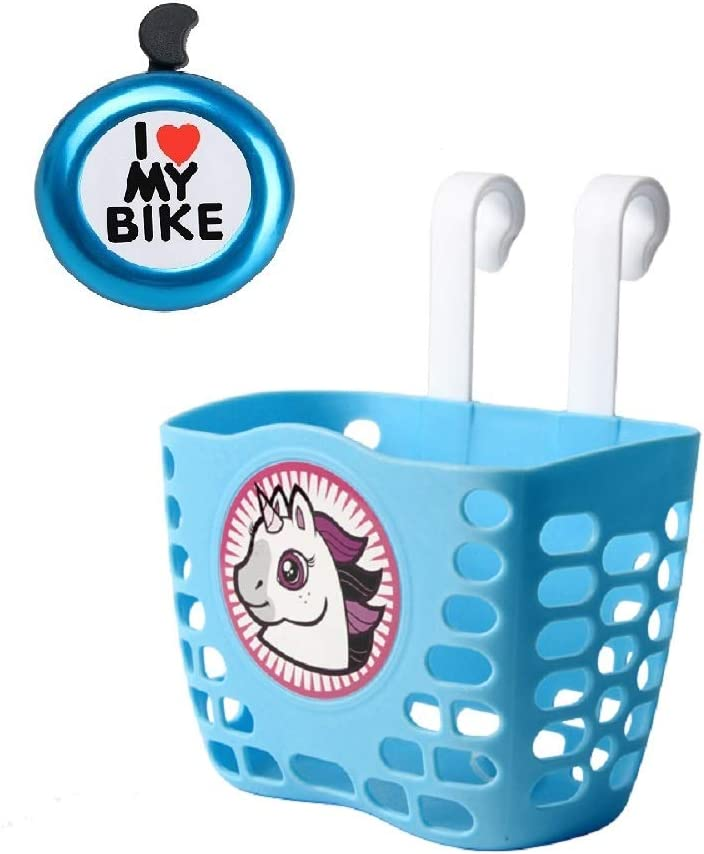 Qiuhome Kids Bike Basket Bicycle Handlebar Basket, Kids Bicycle Bell Bike Accessories Gift for Girls Boys (Blue)