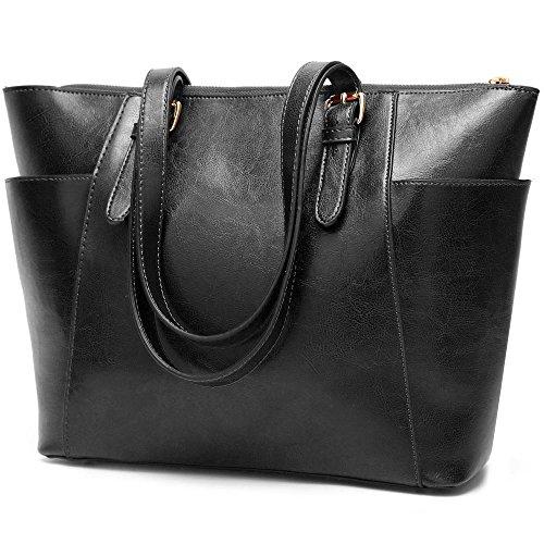 Penao Dama moda Retro único mensajero bolso, bolso de cuero cera aceite, bale a granel, tamaño 32cmx13cmx28cm Black