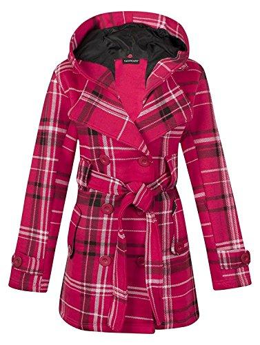 Noroze Womens Check Hood Plus Size Duffle Coat (12 (UK 16), Fuschia Tartan) Fuschia Duffle
