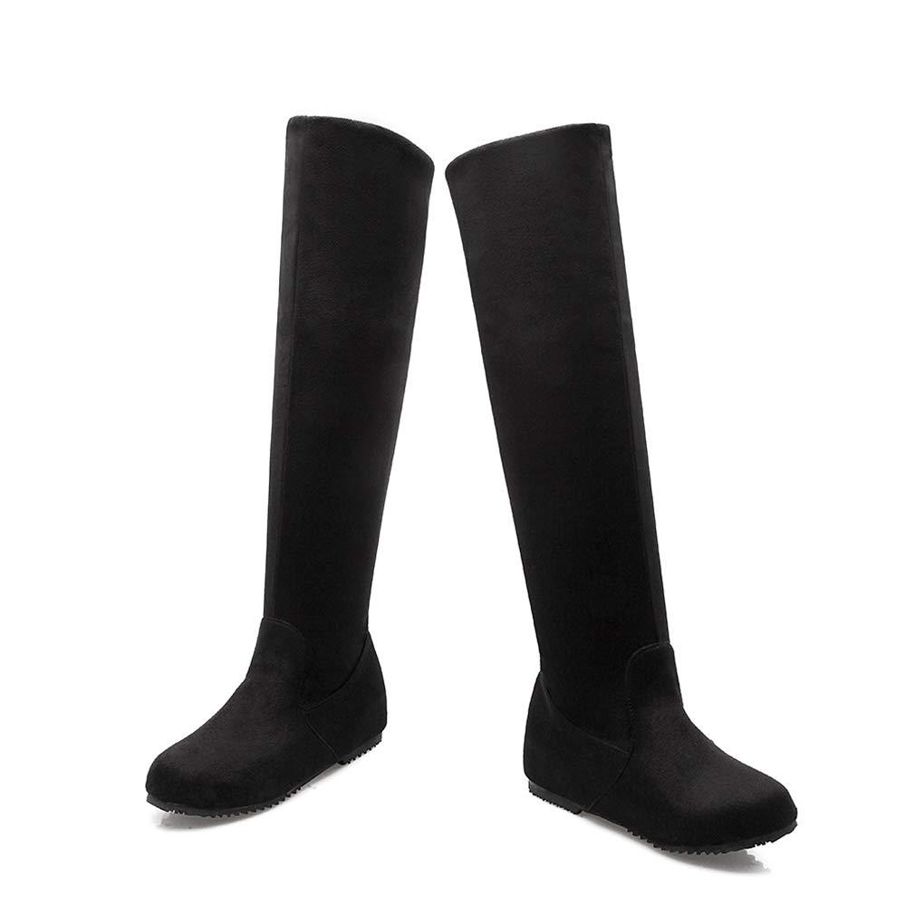 Hy 2018 Frauen Frauen Frauen Hohe Stiefel Herbst/Winter Wildleder Overknee Stiefel/Damen Große Größe Elastische Stiefel/Flache Stiefel Wanderschuhe (Farbe : Schwarz, Größe : 44) - c0da04