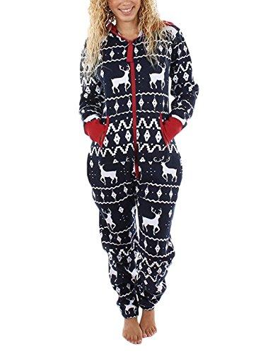 Oversize Uomo Di Babbo Xmas Lunga Sleepwear Cerniera Sciolto Pantaloni Style Pajamas Renna Stampati Unisex Natale Tuta Con Festa Tutine Nero Donna Ragazze Manica Caldo Invernali Pigiama Cappuccio Di Tute OqwxEAIWBI