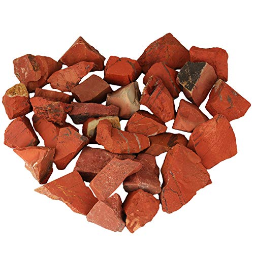 mookaitedecor 1 lb Bulk Natural Raw Stones Rough Crystals for Healing,Tumbling,Cabbing,Polishing,Wire Wrapping,Wicca & Reiki,Red Jasper
