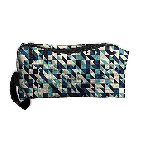Kla Ju Portable Pencil Bag Purse Pouch Creative Geometry Background Stationery Storage Organizer Cosmetic Holder