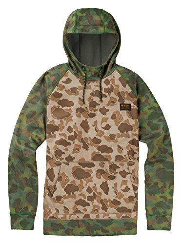 Burton Men's Crown Bonded Pullover Hoodie, Desert Duck/Forest Duck, Large - Burton Hooded Fleece Jacket