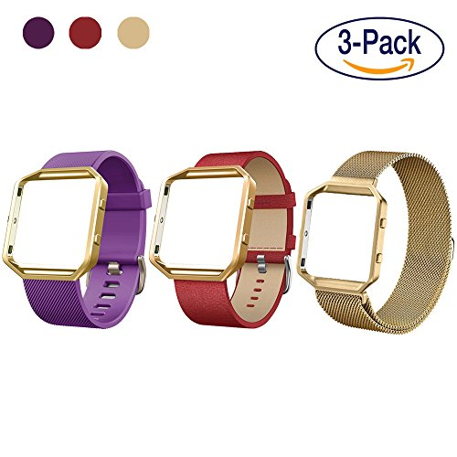 Digital Gadgets Fitbit Blaze Lifestyle Accessory Watch Band Variety 3 Pack, Milanese Stainless Steel + Genuine Leather + Silicone, Replacement Fitness Strap – Gold + Red + Purple - Large - Lifestyle Gadgets