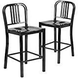 Flash Furniture 24-Inch High Black Metal Indoor-Outdoor Counter Height Stool, 2-Pack