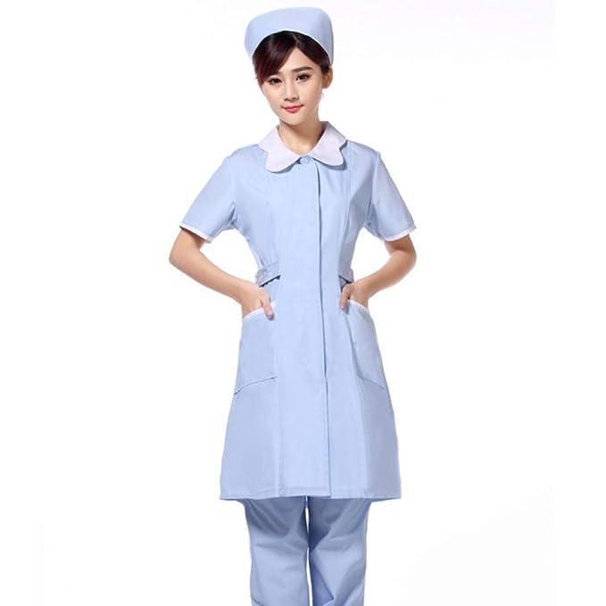 ESENHUANG Mascota Hospital Enfermera Uniformes De Vestir Mujeres Clínica Médica Ropa De Trabajo Manga Corta Abrigo De Laboratorio Médicos Científico Ropa ...