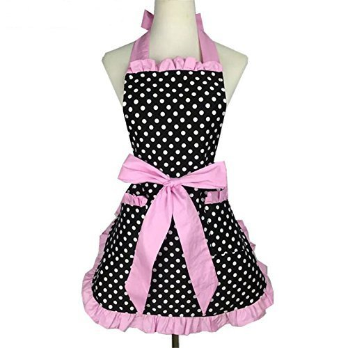 Chef Pink Hearts - VAlink Lovely Sweetheart Retro Kitchen Apron Craft Polka Dot Cotton Cooking Vintage Apron Dress with Pocket for Woman Cook Chef Waiters Girls Cooking Catering Work Apron