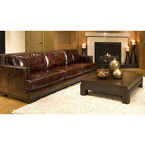 Elements Emerson Top Grain Leather Sofa, Saddle Leather