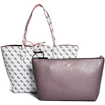 5a41f6f2bc0a GUESS Bobbi Inside Out Reversible Shopper Travel Tote Bag Handbag    Removable Pouch 2PC - White