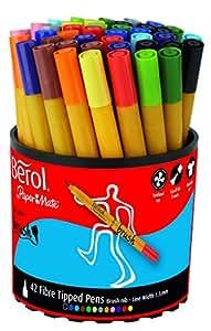Berol Colourbroad - Rotuladores de colores (punta de pincel, 42 unidades)