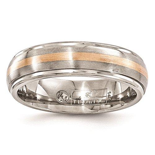 Titanium Edge Ridged Polished - Titanium w/14K Rose Gold Inlay Polished & Brushed Ridged Edge 6mm Wedding Band Size 8.5 by Edward Mirell