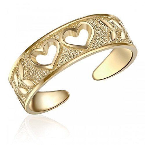 10K Yellow Gold Heart Cut Out Toe Ring, Real 10K Yellow Gold Heart Toe Ring 10k Gold Toe Rings