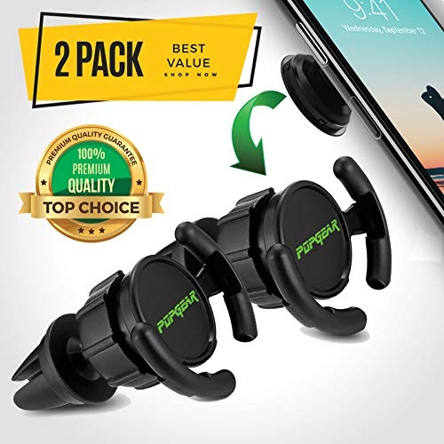 PopGear Pop Clip Car Mount & Holder for Cell Phone [2 Pack] - Air Vent Clip Designed for Android or iPhone with Pop Out Clip || Sturdy Mount with 360 Degrees Grip & Lock for GPS Navigation -