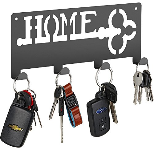 Decorative Wall Key Holder | Modern Key With 4 Hooks | Keyring Holder | Hanging Coat Key Rack with Hooks