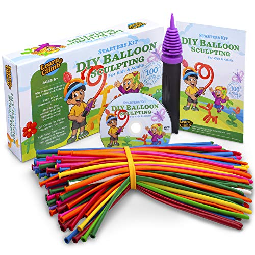 DIY Balloon Animal Kit for beginners. Twisting & Modeling balloon Kit 30 + Sculptures,100 Balloons for balloon animals, Pump, Manual + DVD. Party Fun Activity/Gift for, Teens Boys and Girls.