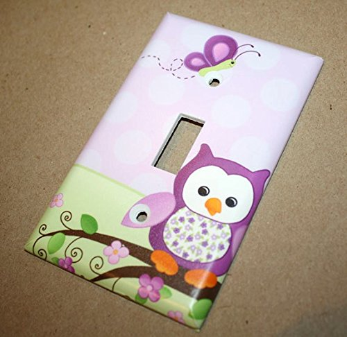 Purple Owl Girls Bedroom Light Switch Cover LS0053 (Double Standard) Toad and Lily LS0053e