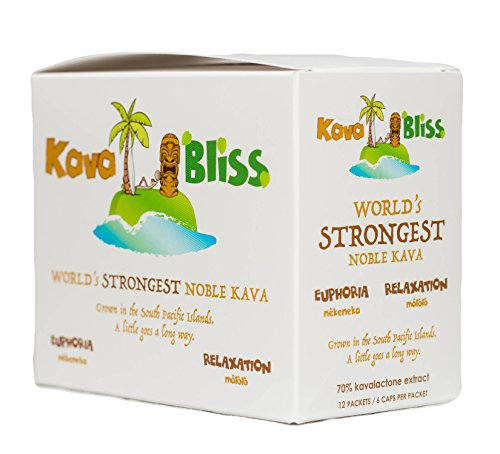 72 caps (12 x 6pk) World's Strongest Noble Kava Extract Kava Bliss Powder Kava Concentrate Lab Tested 70% Pure Kavalactones