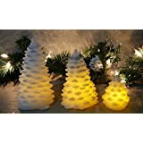 Garden Mile® Set Of 3 Battery Operated Shabby Chic White With Silver Glitter Light Up Acrylic Christmas Tree Ornaments Set Christmas Table Top Centrepiece Decoration with Twinkling LED