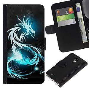// PHONE CASE GIFT // Moda Estuche Funda de Cuero Billetera Tarjeta de crédito dinero bolsa Cubierta de proteccion Caso Samsung Galaxy S4 Mini i9190 / BLUE GLOW TRIBAL DRAGON /