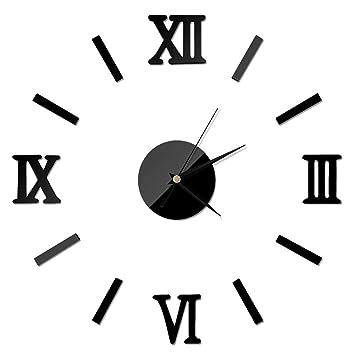 FOONEE Reloj de Pared con Espejo 3D, Grande, sin Marco, con números Romanos