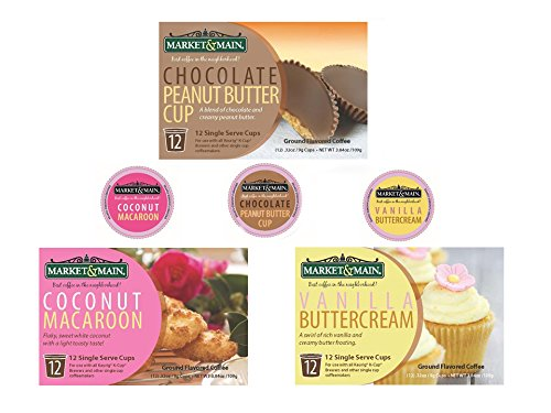 Butter Swirl Peanut Chocolate (Market & Main Fall Flavors K-Cups (36 pack) 12 Vanilla Buttercream, 12 Chocolate Peanut Butter, 12 Coconut Macaroon)