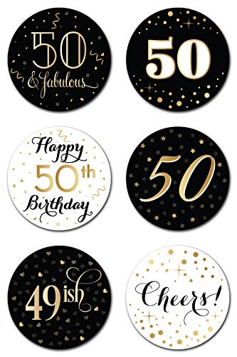 50th Birthday Party Favor Stickers (Pack of 324) - 50 Year Old Labels Decorations Supplies - Gold, Black and White ()