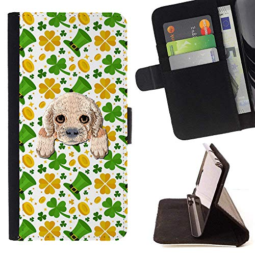 ([ Cocker Spaniel ] Embroidered Cute Dog Puppy Leather Wallet Case for LG V30 [ Green Hats Golden Clovers Pattern ])