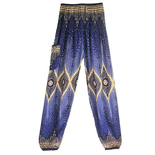 FIRERO Men Women Thai Harem Trousers Boho Festival Hippy Smock High Waist Yoga Pants (Sports Captain Wrap Elastic Long)
