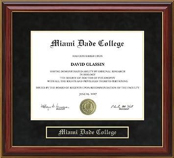 Amazon Com Miami Dade College Mdc Diploma Frame Mahogany