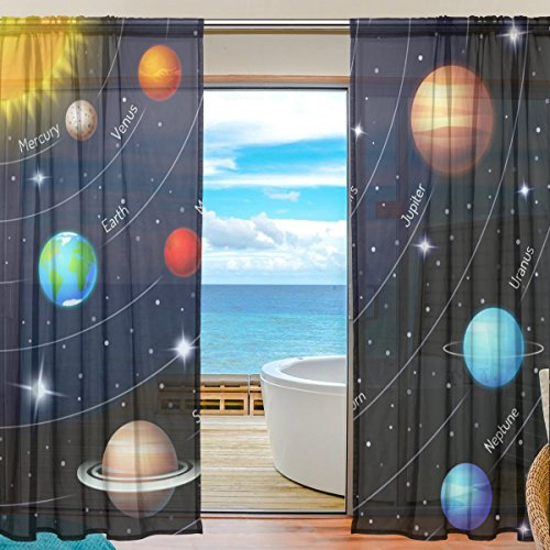SEULIFE Window Sheer Curtain, Universe Galaxy Star Solar System Voile Curtain Drapes for Door Kitchen Living Room Bedroom 55x78 inches 2 Panels by SEULIFE
