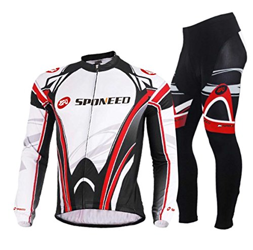 Sponeed Men's Bicycle Jersey Polyester and Lycra Set Long-sleeved Victory Size Asia XXL/US XL White-red (Jersey Cycling Set compare prices)