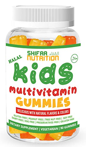 SHIFAA NUTRITION Halal, Vegan & Vegetarian Gummy Vitamins for Kids | with Vitamin D, A, C, E, B6, B12, Biotin, Zinc & More | Non-GMO & Free of Preservatives, Gluten, ()