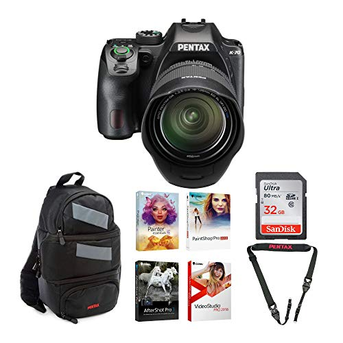 Pentax K-70 DSLR Camera with 18-135mm Lens (Black) with 32GB SD Card, DSLR Sling Bag and Coral Software Bundle (5 Items)