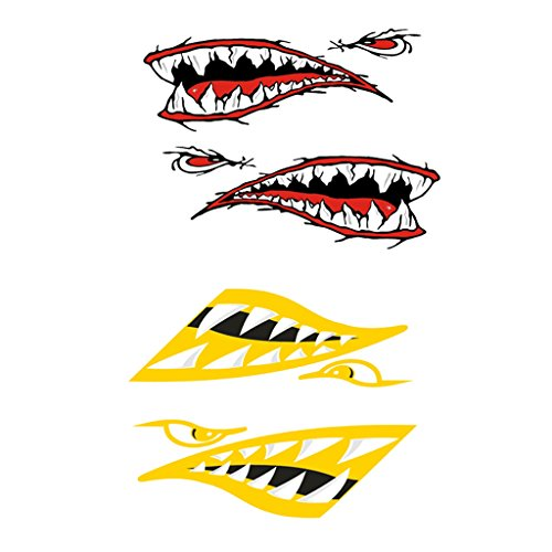 Yellow Dinghy - MagiDeal 4 Pieces Large Red + Yellow Vinyl Shark Mouth Teeth Decal Sticker Kayak Canoe Dinghy Fishing Boat Car Cool Decoration