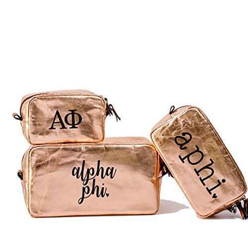 A-List Greek Cosmetic Bag Alpha Phi Sorority Travel Set of 3 - Black Greeks Letter Design | Ideal to store Makeup, Jewelry & Other Accessories - Perfect Gift for any Sorority Girl ()