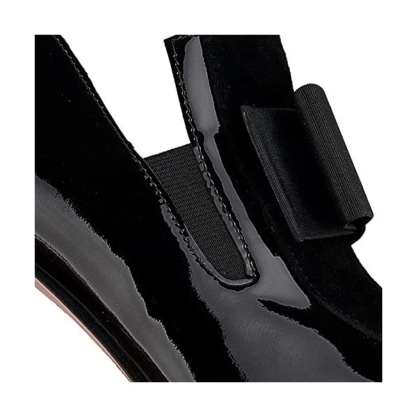 azmodo Women Knots Square Toe Patent Leather Thick Heel Platform Pumps Heels with Bow Black Boots