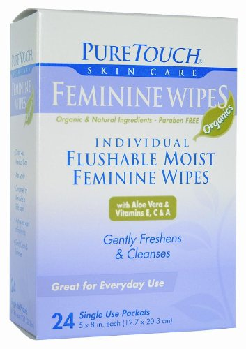 Pure Touch Feminine Wipes ORGANICS Individual Flushable Moist Wipes BULK of 350 Single-Use-Packets