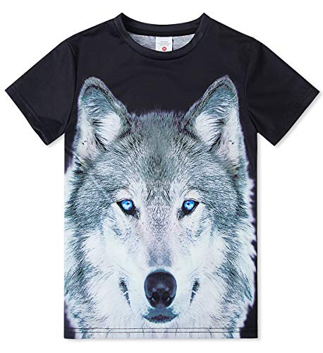 Funny Tees 3D Wolf Printed Animal in Forest Graphic Activeshirts Outdoor Indoor Comfortable Teens Tops 13T-16T -