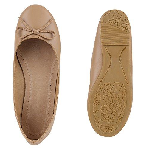 Stiefelparadies Damen Ballerinas Schleifen Klassische Ballerina Schuhe Strass Flats Metallic Übergrößen Gr. 36-44 Flandell Khaki