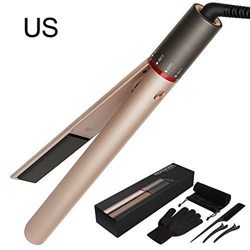 Hair Curler,Cylindrical Multifunctional Hair Curling,Hair Straightening Curling Tongs Dual-Use 2 in 1 Electric Iron Ceramic Spray Type Hair Straightener/Hair Curler 110-220V