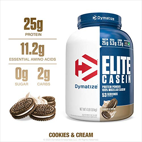 Dymatize Elite Casein Protein Powder, Slow Absorbing with Muscle Building Amino Acids, 100% Micellar Casein, 25g Protein, 5.4g BCAAs & 2.3g Leucine, Helps Overnight Recovery, Cookies & Cream, 4 Pound