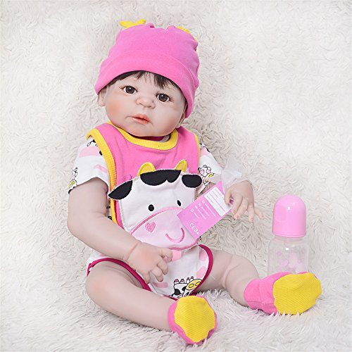 Man Baby Doll (Soft 23'' 57cm Full Silicone Vinyl Reborn Baby Girl Realistic Alive Newborn Babies Doll White Skin Ethnic bebe Toddler For kids Xmas Gifts Birthday Christmas Holiday Gift Reduce Anxiety Help Autism Pr)