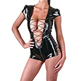 Challyhope Hot Spicy Women Sexy Tempting Leather Lace Up Hollow Out Racy Lingerie (Free, Black)