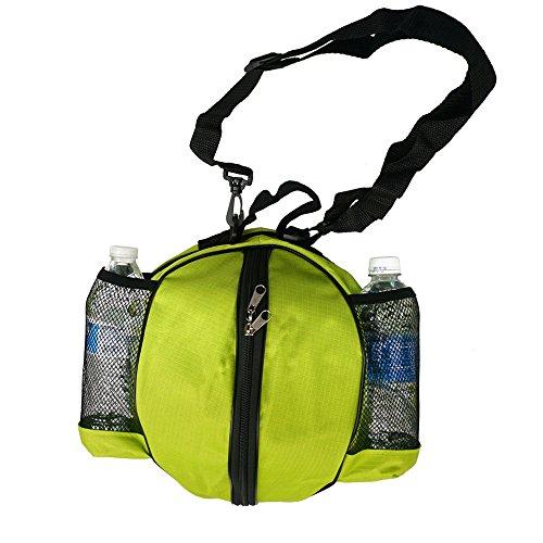 "FoRapid Size 7/29.5"" Basketball Bag Soccer Ball Football Volleyball Softball NBA Basketball Bag Holder Carrier+Adjustable Shoulder Strap 2 Mesh Pockets f/ Water Bottle Towel Sports Shoes-Green"